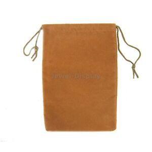 50 Beige Velvet Gift Square Wedding Pouches Favour Jewelry Bags 6 x9
