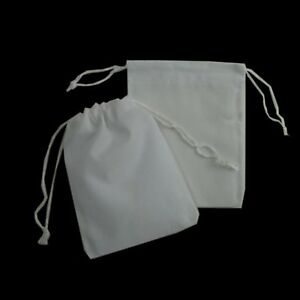 200 Wedding Velvet Bomboniere Bags Square Jewellery Gift Drawstring White 2 x3