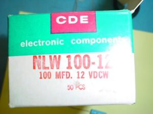 Cde Nlw100 12 100uf 12vdc 105c Axial Electrolytic 7x19mm Capacitor New Qty 4