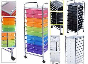 Portable Wheels Office School Organizer 10 Drawer Rolling Storage Cart Scrapbook
