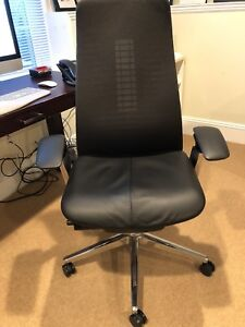 Beautiful Haworth Fern Task Executive Chair Black Mesh With Leather