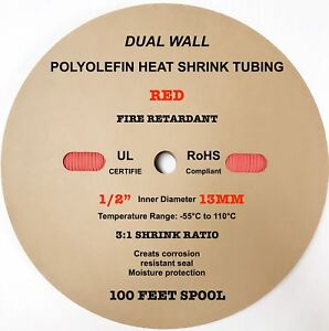 100 Ft Red 1 2 13mm Dual wall Adhesive 3 1 Ratio Heat Shrink Tubing M23053 4