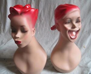 2 Rare Vtg old Free Standing Base Table Top Female Mannequin busts nice signed