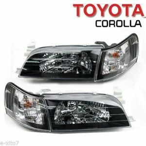 Toyota Corolla Ae100 Ae101 Headlight Corner Crystal Sedan Wagon Front Black