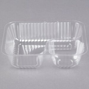 Nacho Tray Clear Plastic 2 Compartment Restaurant Food Container pack Of 1000