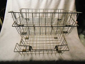 4 Vintage Industrial Metal Wire Letters Desk Tray Baskets display Uses