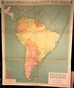 Original 1921 Philips Comparative Wall Atlas South America Political Map