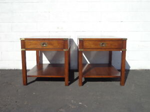 Pair Of Tables Accent End Side Campaign Storage Thomasville Bohemian Vintage