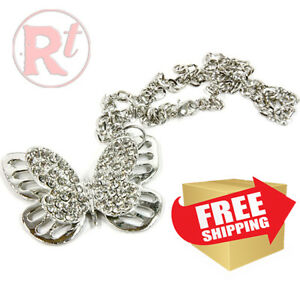 Bling Butterfly Mirror Car Charm Hanger Ornament Clear Rhinestones With Chain
