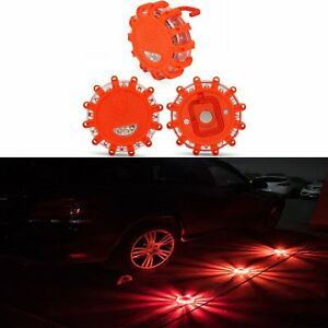 3x Halo Magnetic Led Emergency Safety Road Flare Warning Light Battery Operated