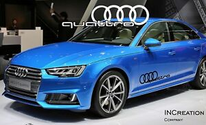 Audi A4 Quattro Factory Style Door Vinyl Stickers Decals Racing Emblem Logos X2