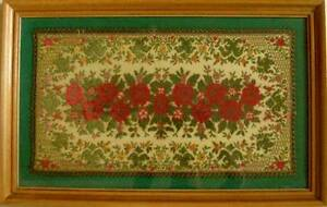 Victorian Original Antique Large Framed Embroidery Needlework