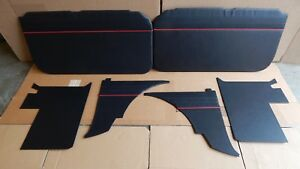 New 6 Piece Interior Panel Set With Door Panels Mgb 1965 1967 Black W Red Pipe