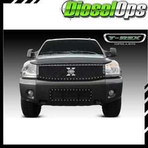T rex Black X metal 1pc Studded Main Grille For Nissan Titan armada 04 14