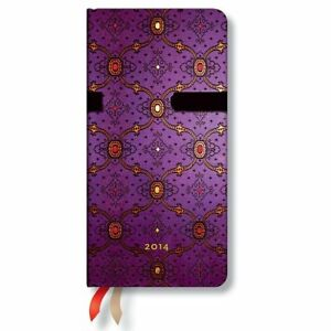 French Ornate Violet 2014 Paperblanks Weekly Planner Slim 3 5 X 7 Horizontal