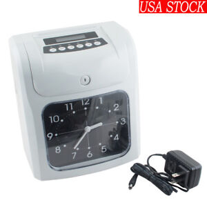 Office Electronic Time Clock Card Machine Employee Work Hours Recorder Us Stock