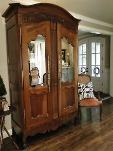 Antique French Country Wedding Armoire 2 Mirrored Paneled Doors Walnut Carving