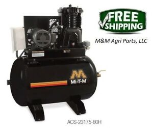 Mitm Industrial 80 Gallon Air Compressor Two Stage Electric 230v 23 0a 1 Phase
