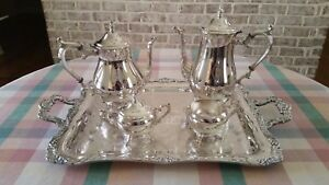 Vintage 5 Pc Wm Rogers Silverplate Coffee Tea Set Tray Eagle Star Excellent