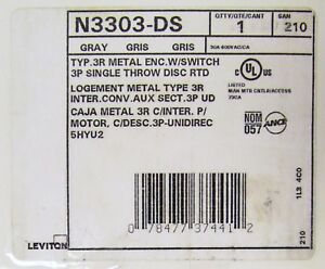 Leviton N3303 Ds 30 Amp 600v Type 3r Enclosed Manual Motor Starter Power Switch