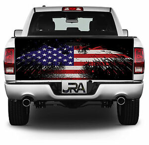 Grunge Eagle Flag Tailgate Wrap Vinyl Graphic Decal Sticker Wrap 232