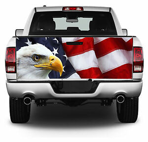 American Flag W eagle Truck Tailgate Wrap Vinyl Graphic Decal Sticker Wrap 201