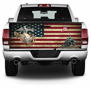 Us Marine Corp American Flag Tailgate Wrap Vinyl Graphic Decal Sticker Wrap 231