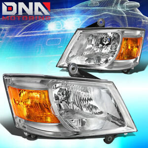 For 2008 2010 Dodge Grand Caravan Pair Chrome Amber Headlight lamps Replacement