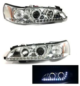 1993 1997 Toyota Corolla Clear Headlights Set Halo Projector Led Strip