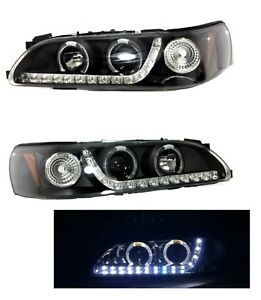 1993 1997 Toyota Corolla Black Headlights Set Halo Projector Led Strip