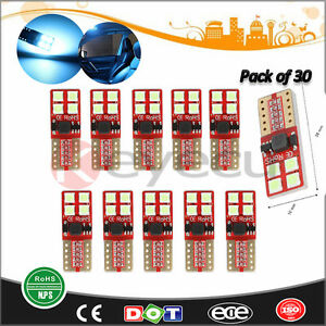 30 Ice Blue T10 Bulb For Car Interior Dome Map Door Courtesy License Plate Light