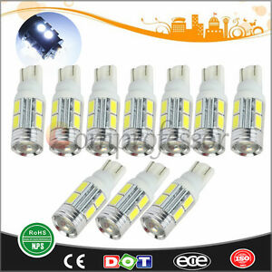50x T10 5630 10smd Led Dome Map Interior Light Bulbs Car Side Wedge Tail White