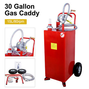 30 Gallon Gas Caddy Automotive Fuel Diesel Storage Transfer Tank Hard Hose