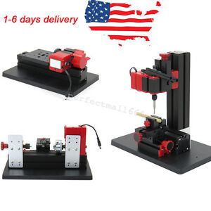 Mini 6in1 Machine Lathe Diy Machine Tool Jigsaw Milling Lathe Drilling Driller