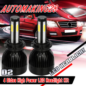 4 Sides D2s D2r D2c 80w 8000lm Led Headlight Kit 6000k White Bulbs One P