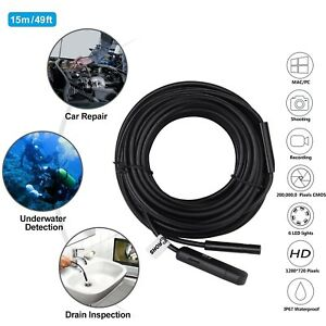50ft Pipe Inspection Camera Hd 720p Usb Endoscope Video Sewer Drain Snake Camera