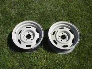 Pair Mopar Cop Slotted Wheels Ralley Police15x7 Steel