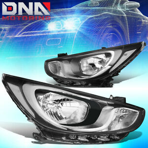 For 2012 2014 Hyundai Accent Pair Chrome Housing Clear Side Headlight lamps Set
