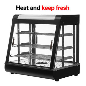 Food Court Restaurant Heated Food Pizza Display Warmer Cabinet Case 26 Glass