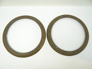 Antique Pair Old Metal Cast Iron Ornate Woodstove Collars Burner Pieces Parts