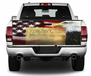 We The People Bald Eagle Truck Tailgate Vinyl Graphic Decal Wrap 405