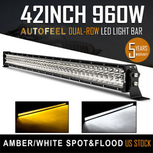 Amber White 42inch 960w Cree Combo Led Work Light Bar Suv Boat Driving 40 44