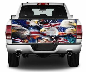 Patriotic Multi Bald Eagle Flag Truck Tailgate Vinyl Graphic Decal Wrap 408