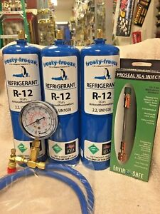 R12 Refrigerant 12 Virgin R 12 3 Cans Gauge Hose Pro seal Xl4 Stop Leak Kit