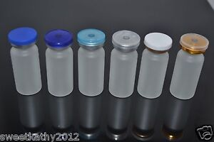 100 Sets 10ml Clear Frosted Glass Vials With Stopper Flip Off Seals 100 New