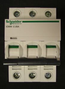 Schneider Electric A9f74325 3 Pole 25 Amp 400v Acti9 Ic60n Circuit Breaker