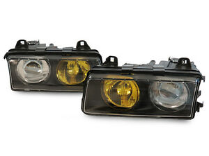 French Yellow Clear Glass Lens Depo Euro Hella Projector Headlights For Bmw E36