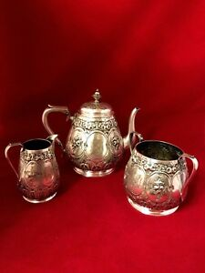 Antique Silver Plated Coffee Tea Set Ornate Engraved Martin Hall