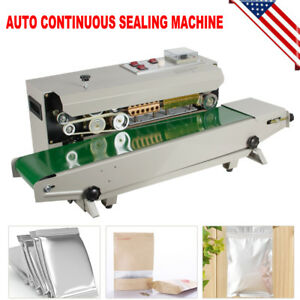 Horizontal Automatic Continuous Plastic Bag Band Sealing Machine Sealer 110v Fda