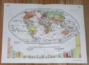 1938 Original Vintage Political Map Of The World Colonies British Empire